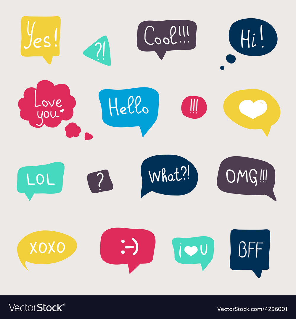 Colorful questions speech bubbles set in flat desi vector