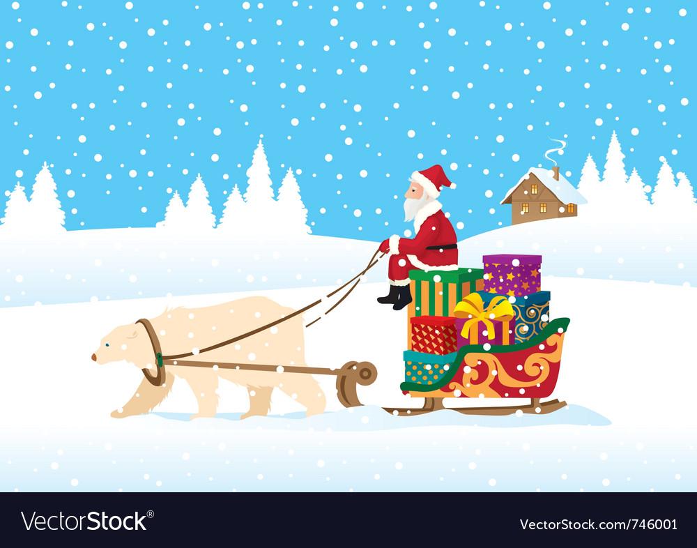 Santa claus delivering presents vector