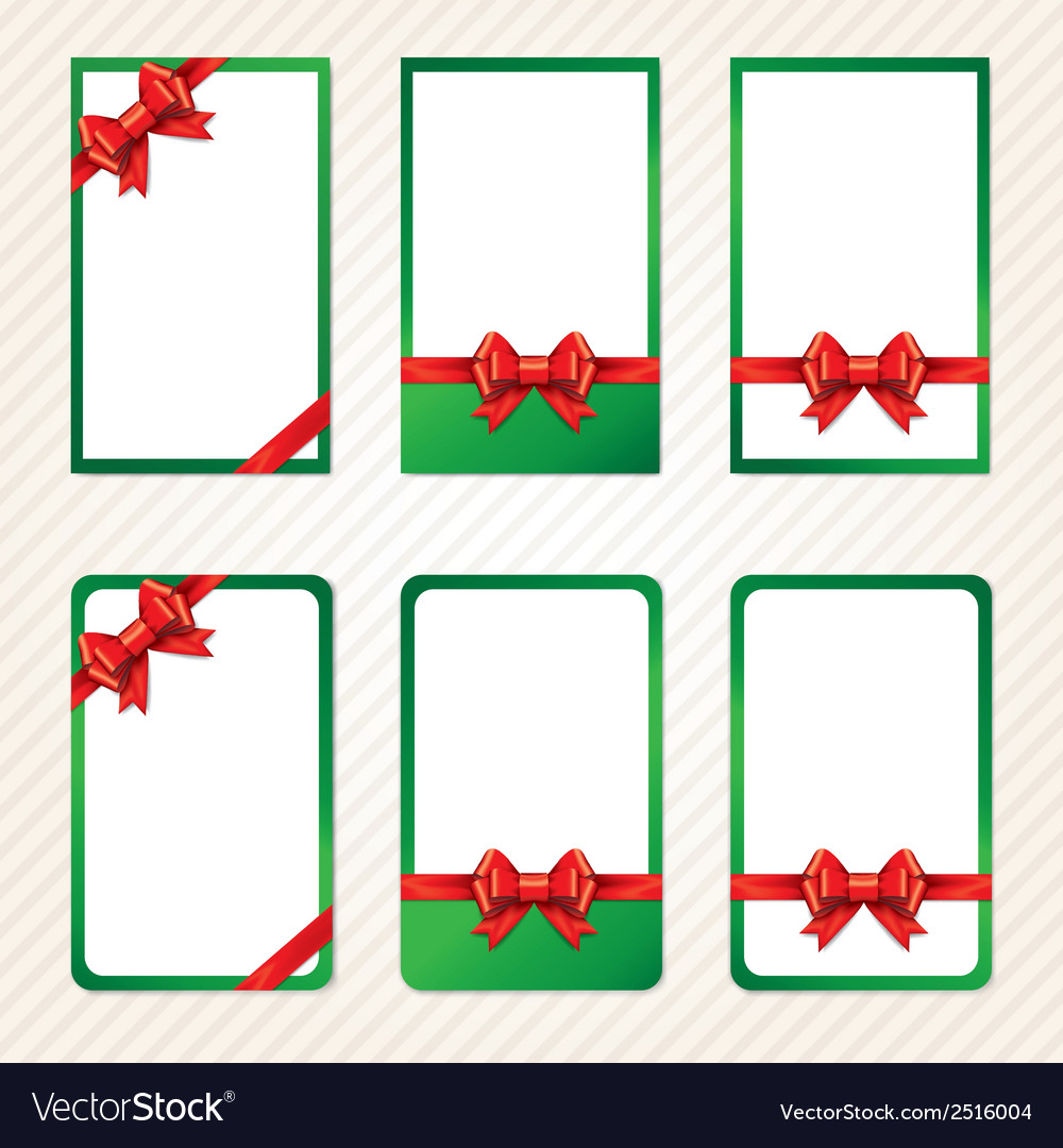 Collection of red gift bows with ribbons vector