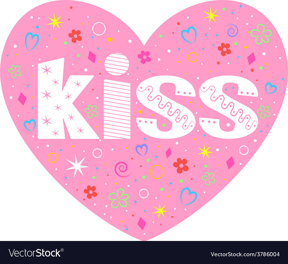 Kiss lettering decorative heart vector