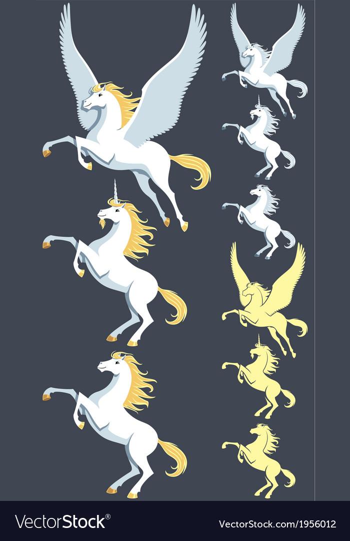 Pegasus unicorn stallion vector