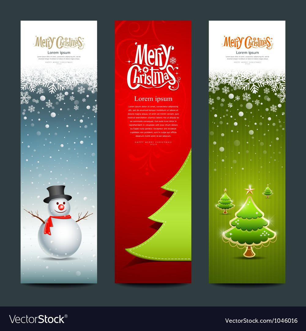 Merry christmas banner design set vector
