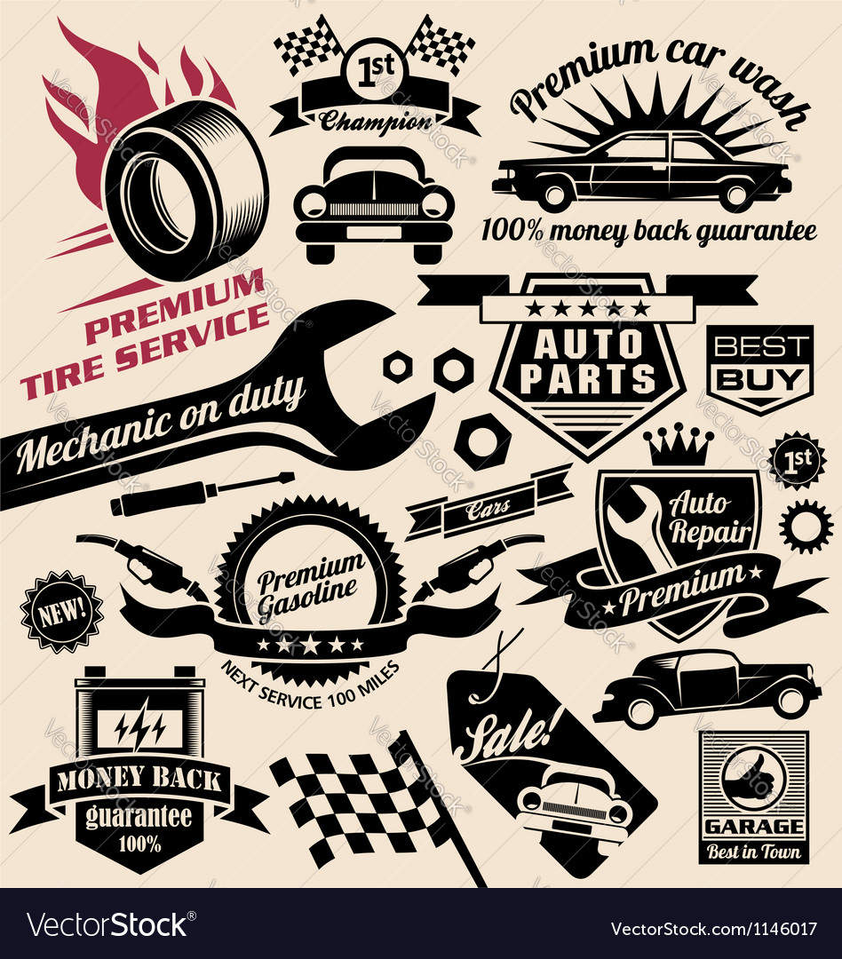 Set of vintage car symbols and logo designs vector