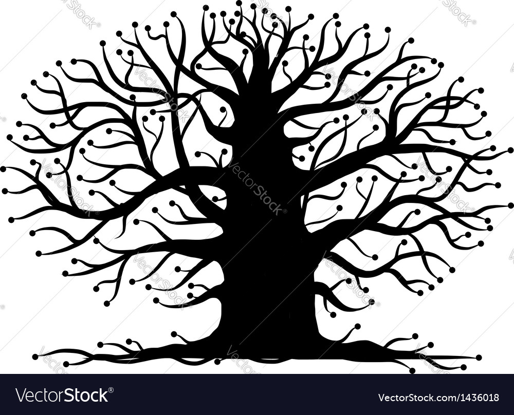 Old tree bare silhouette for your design vector