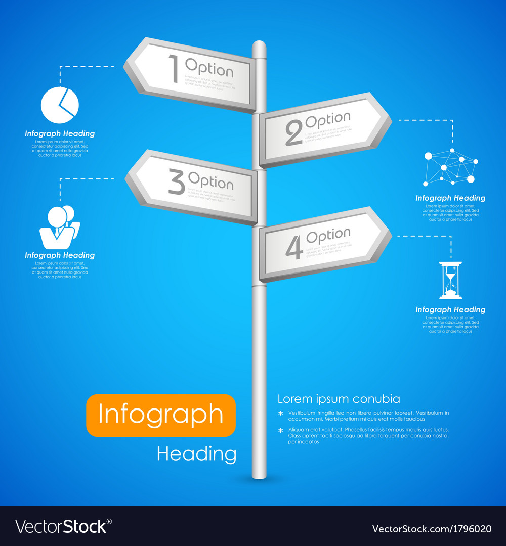 Direction post in infographic background vector