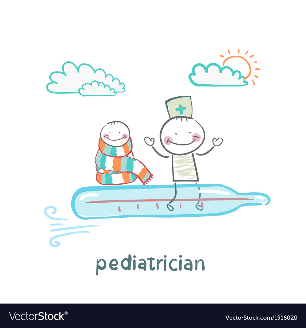 Pediatrician is flying on a thermometer with a vector