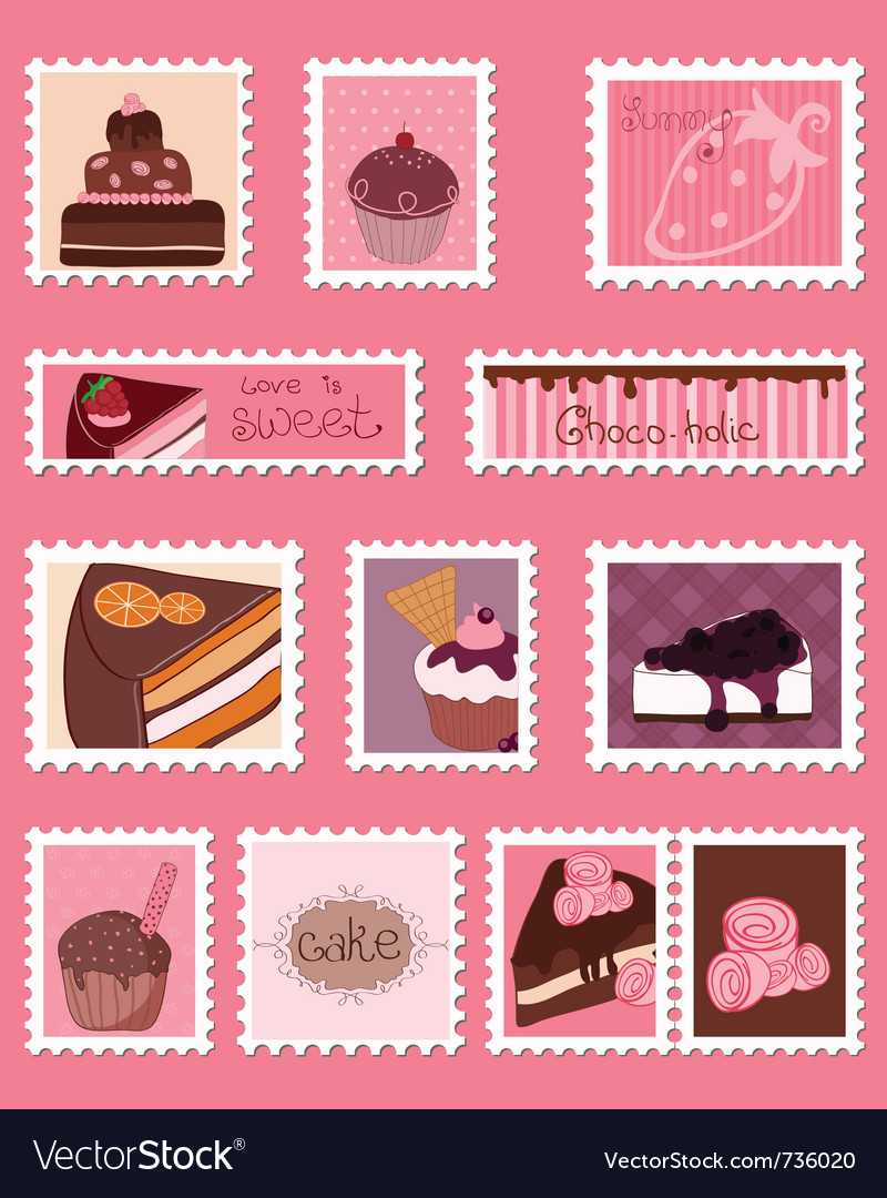 Sweet postage stamps set vector