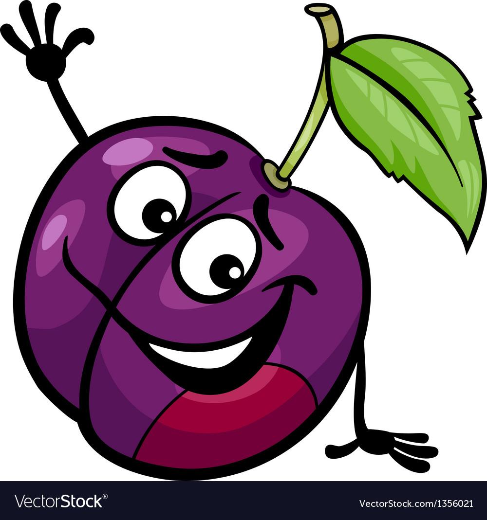 Funny plum fruit cartoon vector