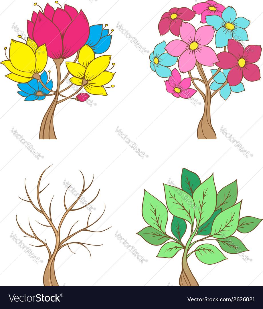 Set of decorative trees vector