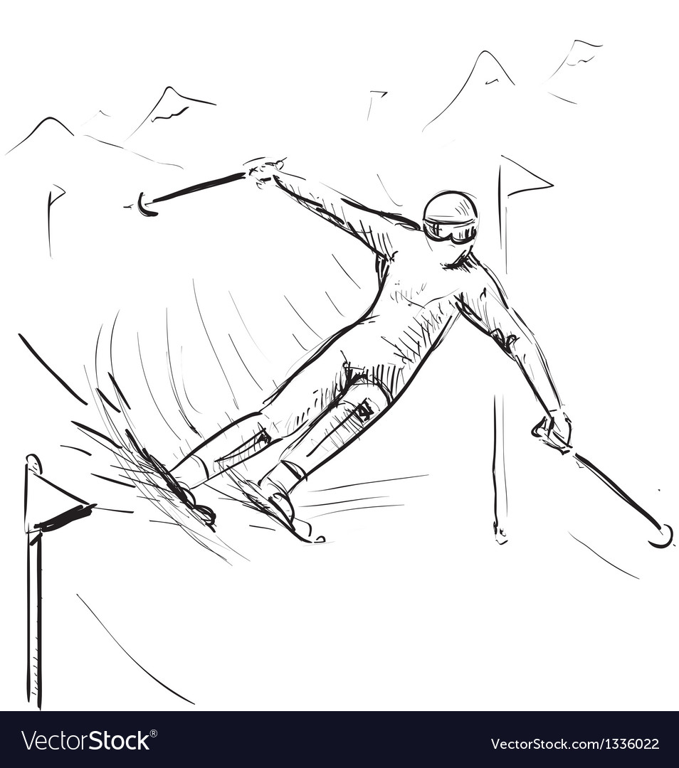 Skiing man on competitions vector