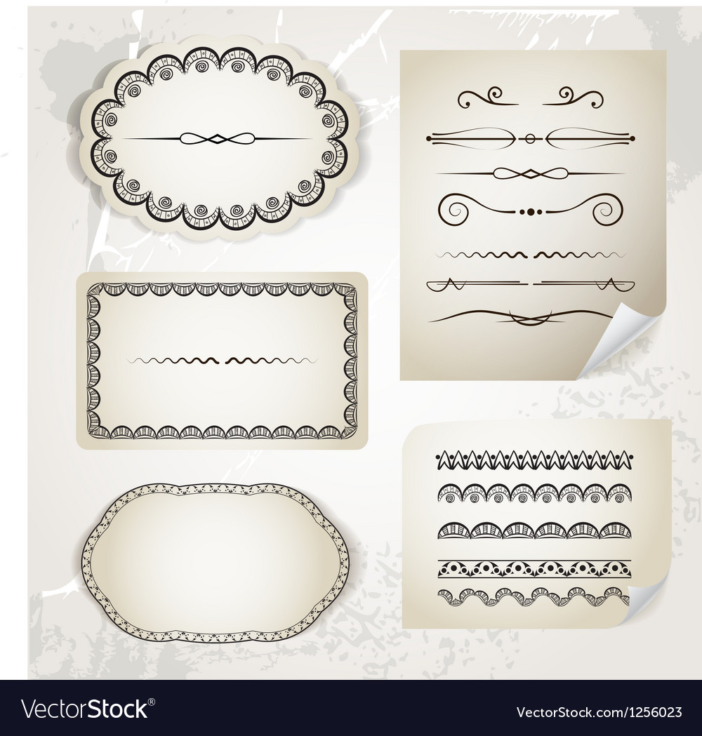 Vintage calligraphic elements on old paper vector