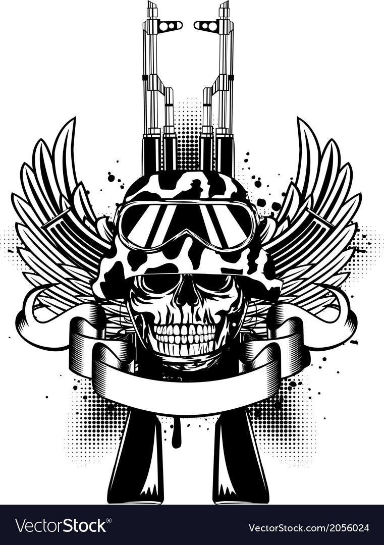Skull in helmet and two kalashnikov guns vector