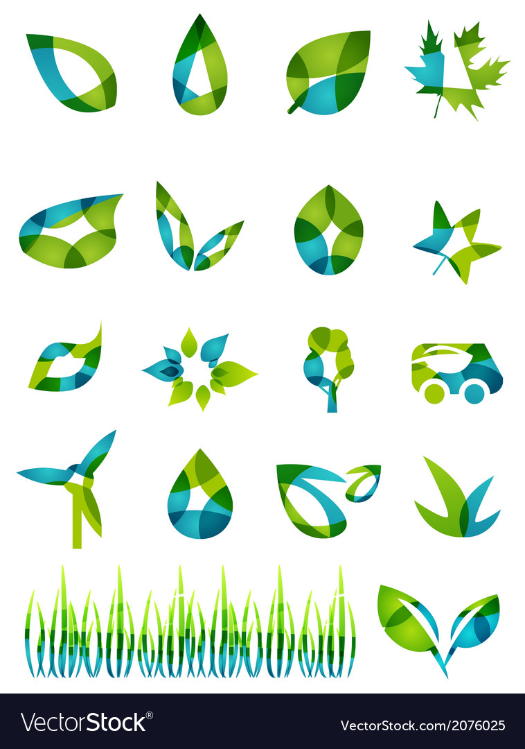 Abstract green leaf shapes icon set vector