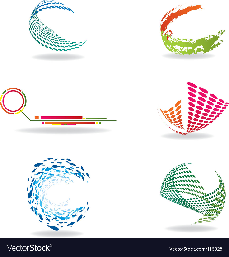 Colorful halftone icons vector