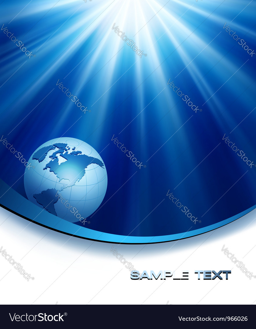 Blue elegant background with globe vector