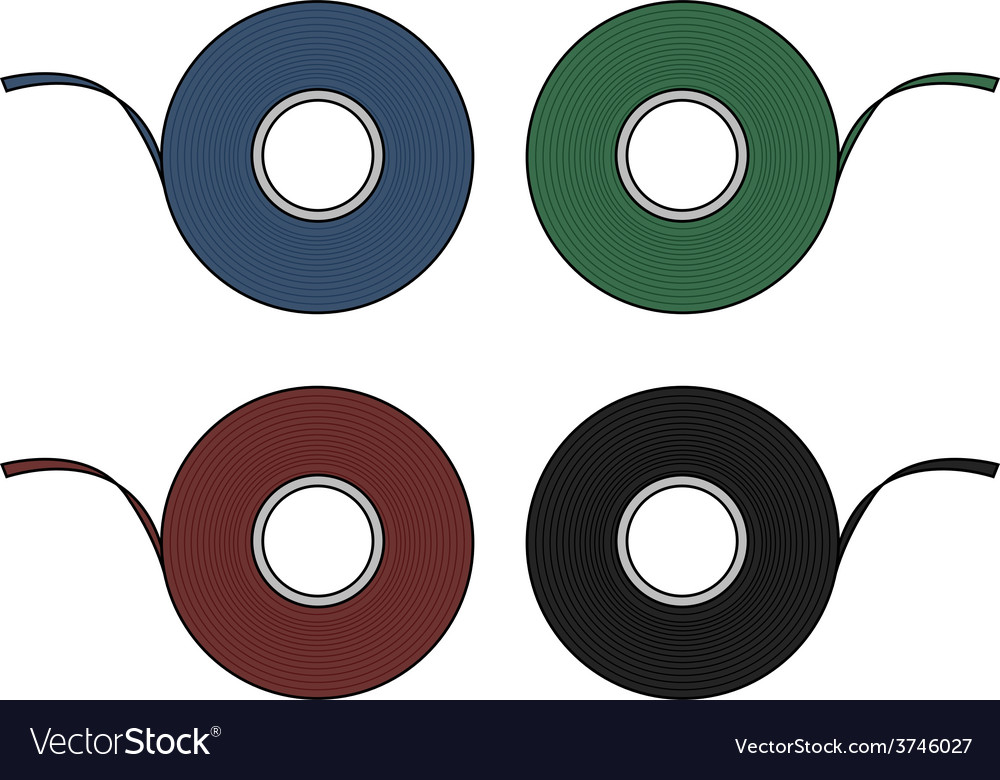 Blue green red black insulation tape set vector