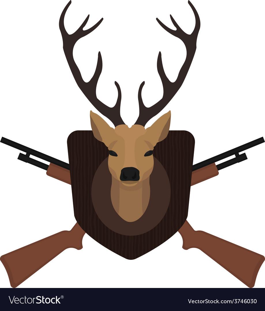 Hunting trophy deer head with 2 crossed shotguns vector