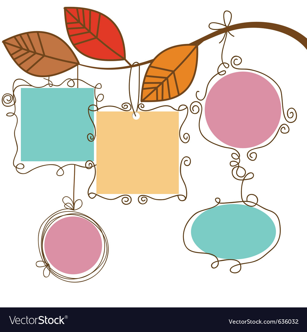 Tree branch hanging frames vector