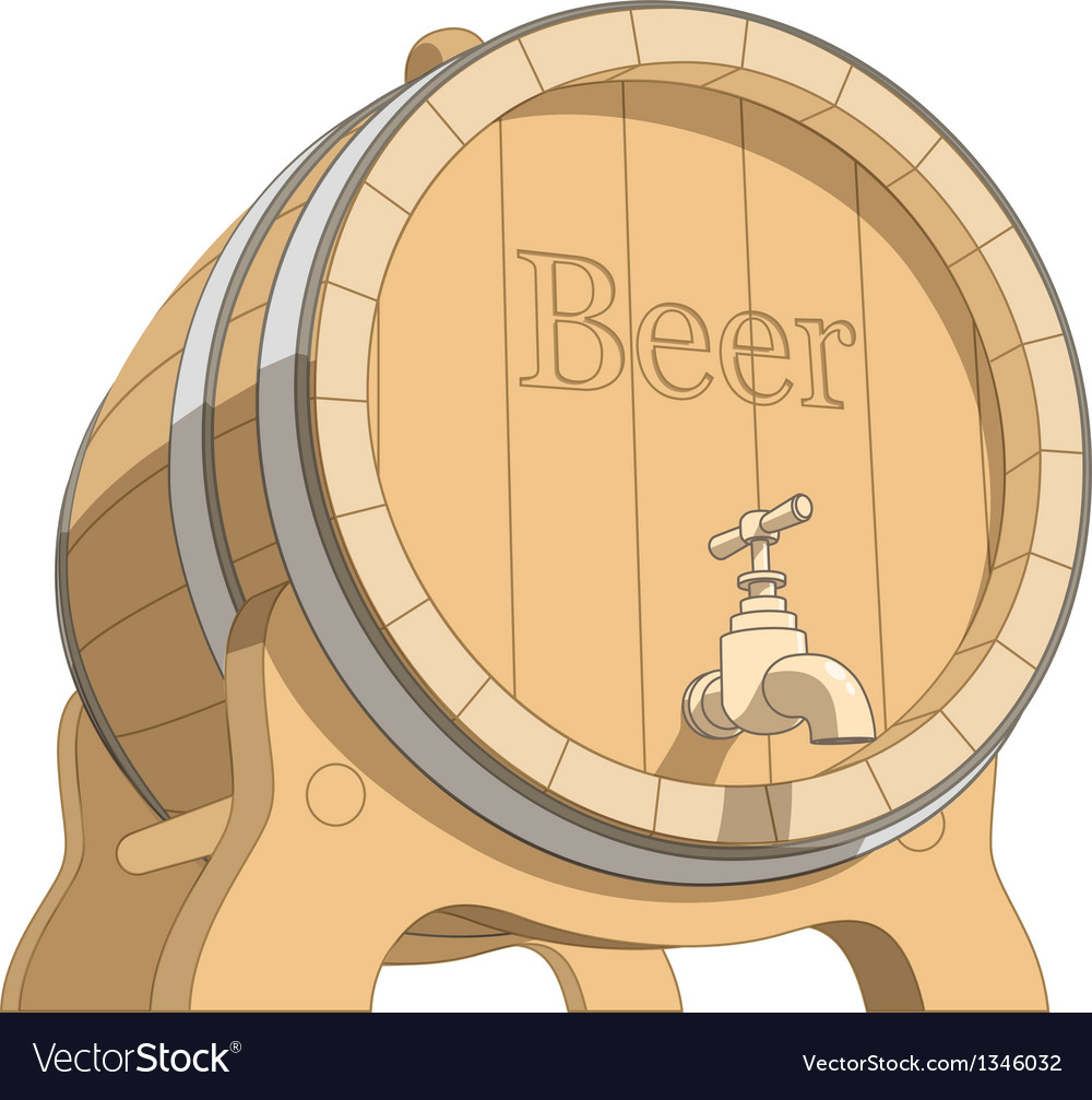 Wooden tun with beer vector