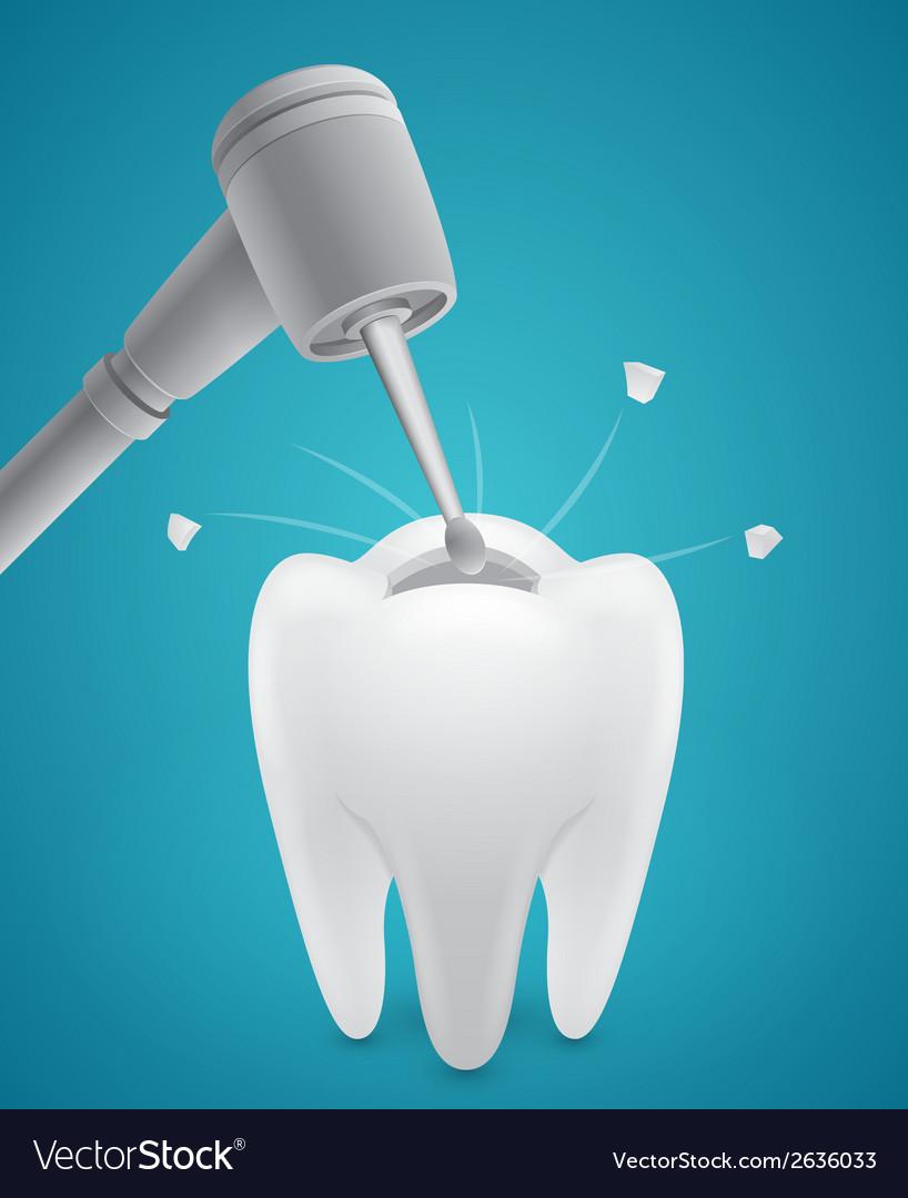Boring human tooth vector