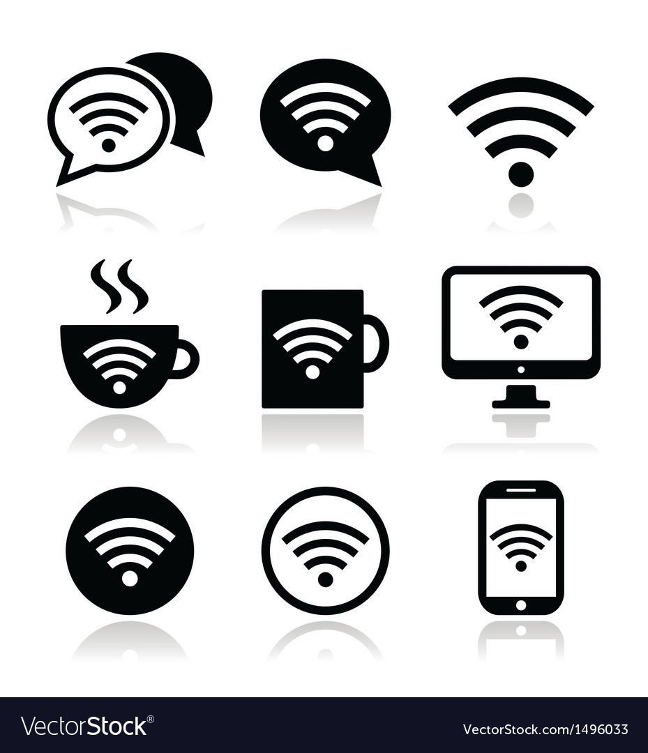 Wifi internet cafe wifi icons set vector