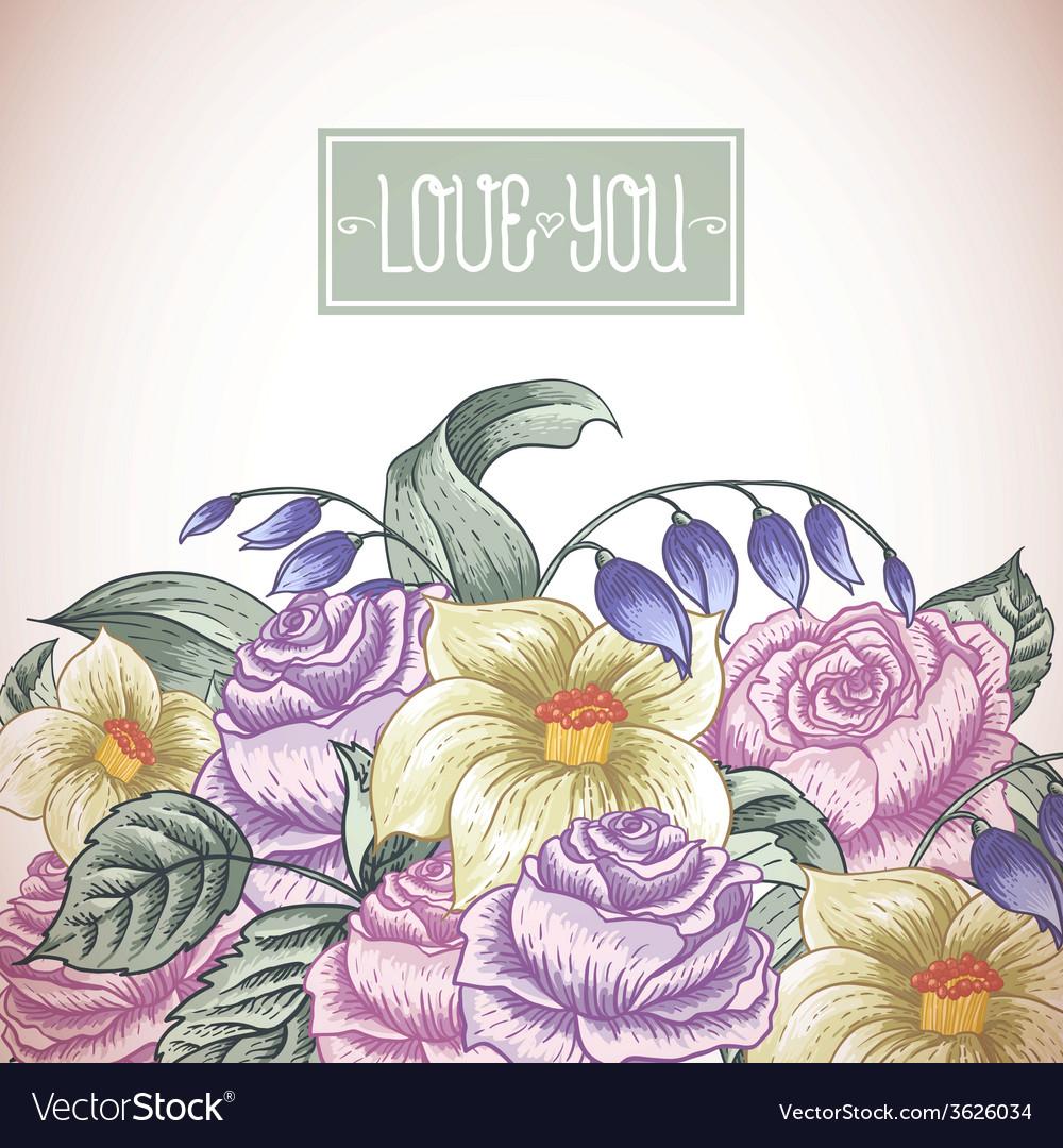 Vintage floral bouquet botanical greeting card vector