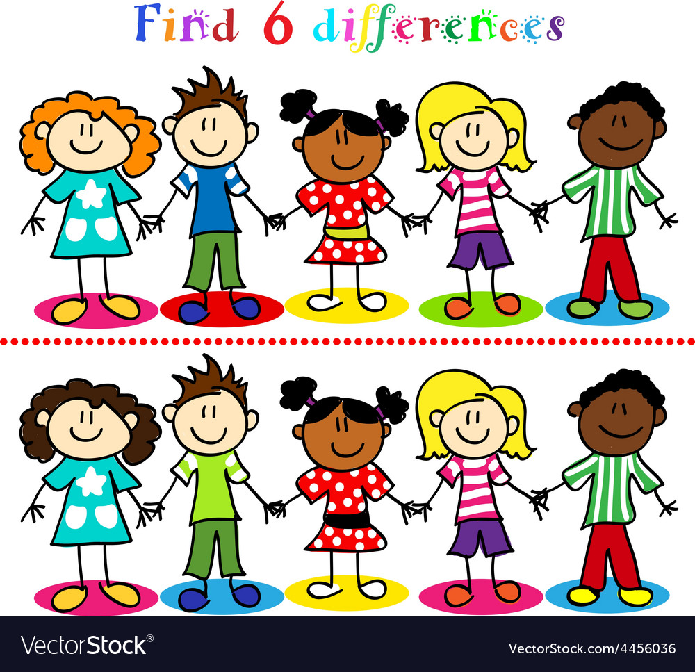 Difference game with kids stick figures vector
