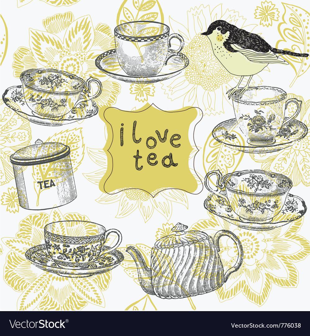 Love tea time vector