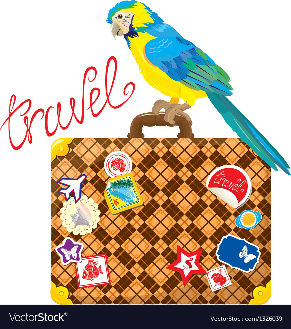 Travel concept - suitcase with journey stickers vector