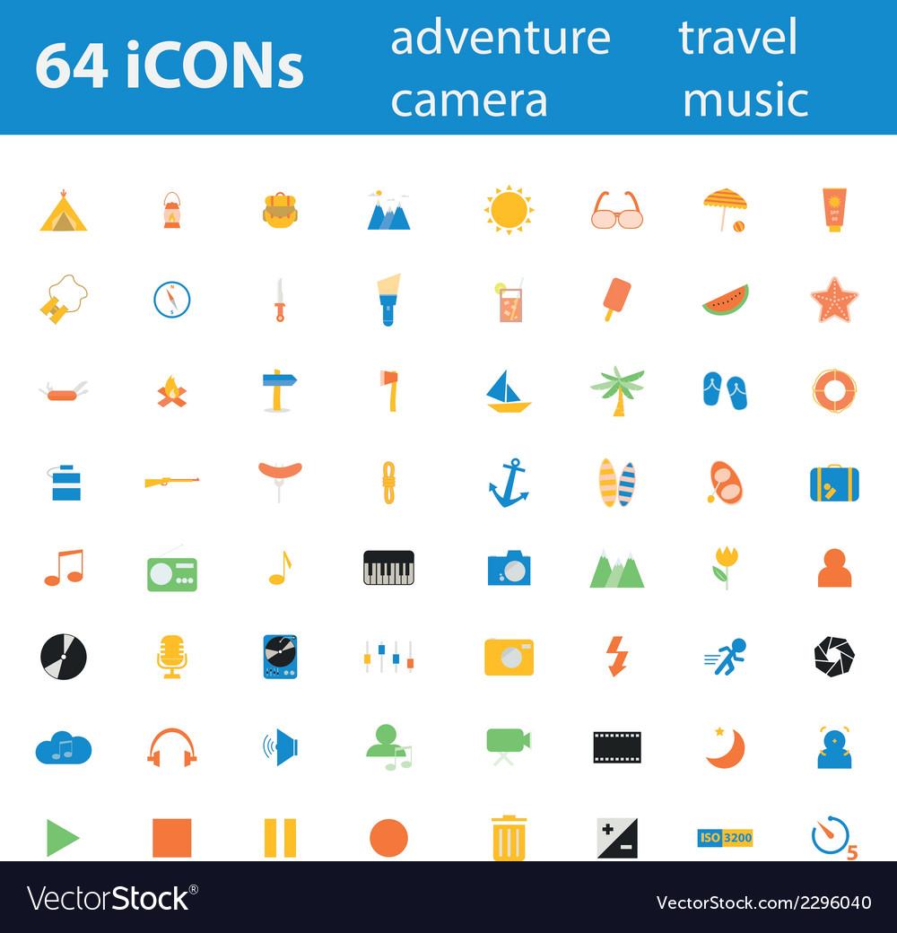 64icon adventure travel camera music vector