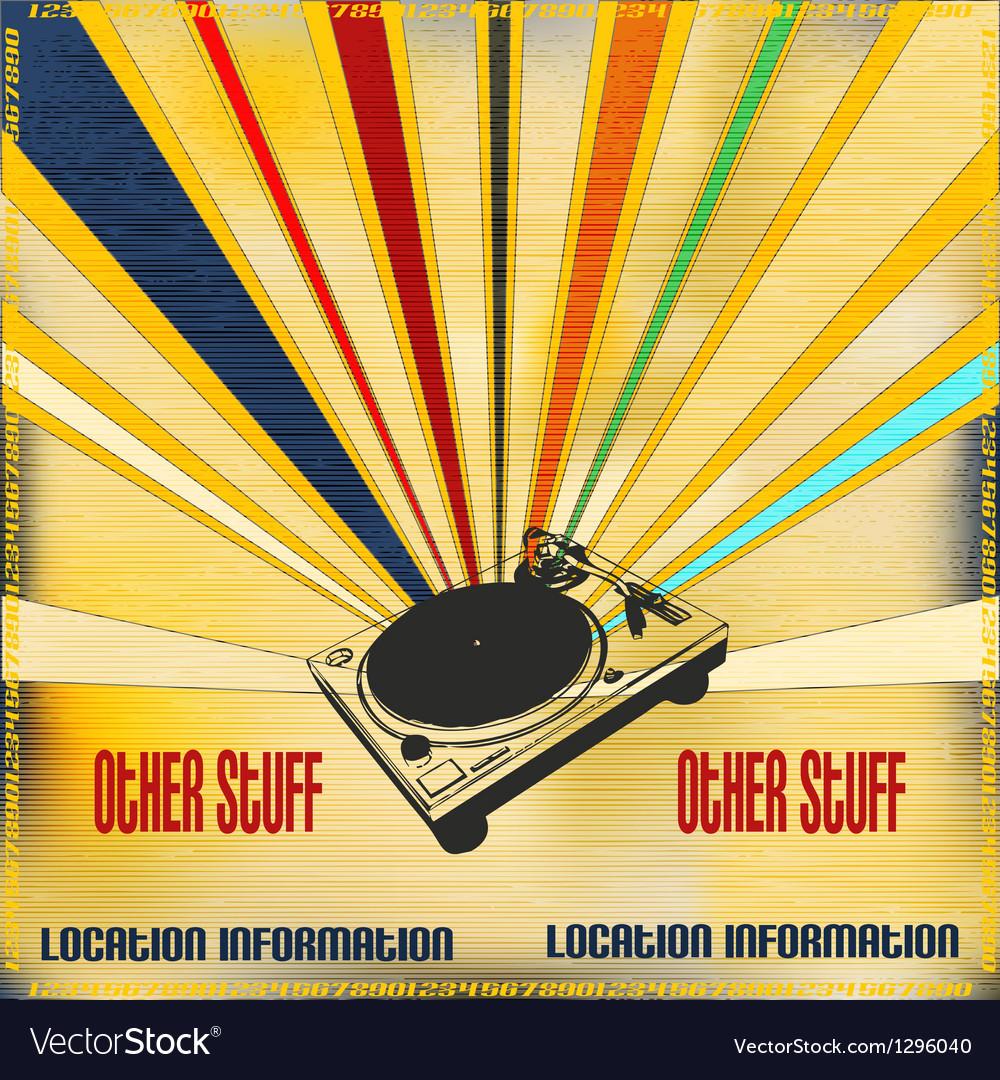 Retro style dj poster vector