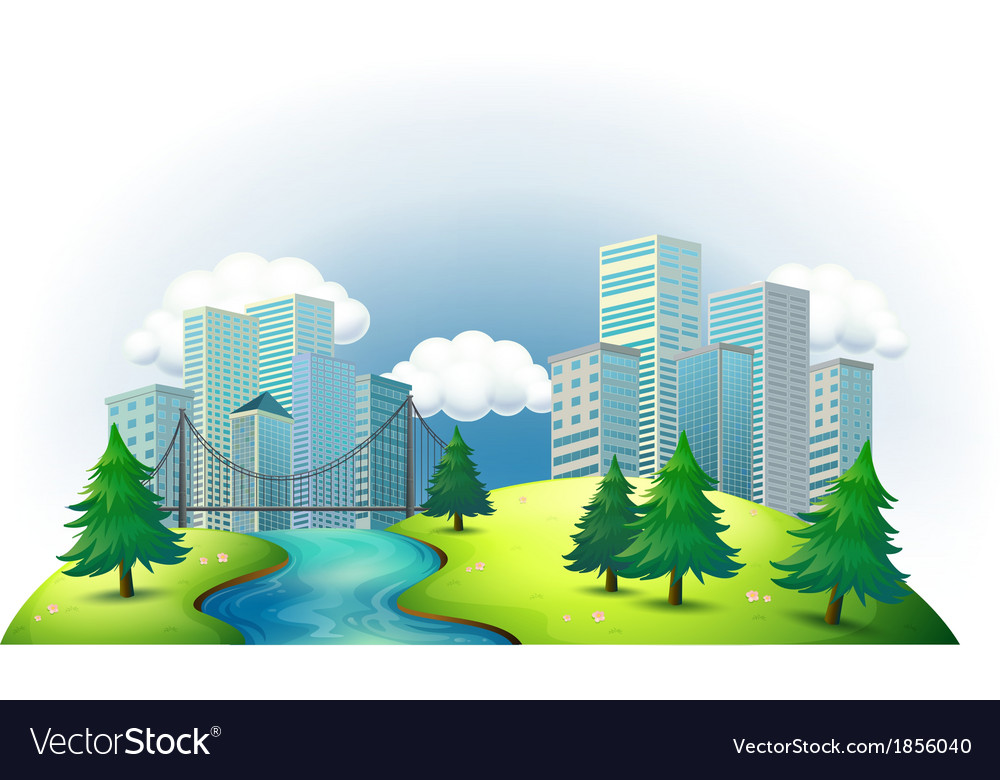 Tall buildings in an island with a river and pine vector