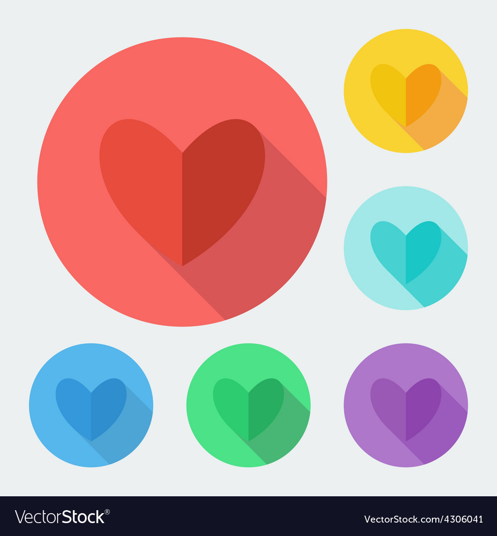 Flat style heart icon with long shadow vector