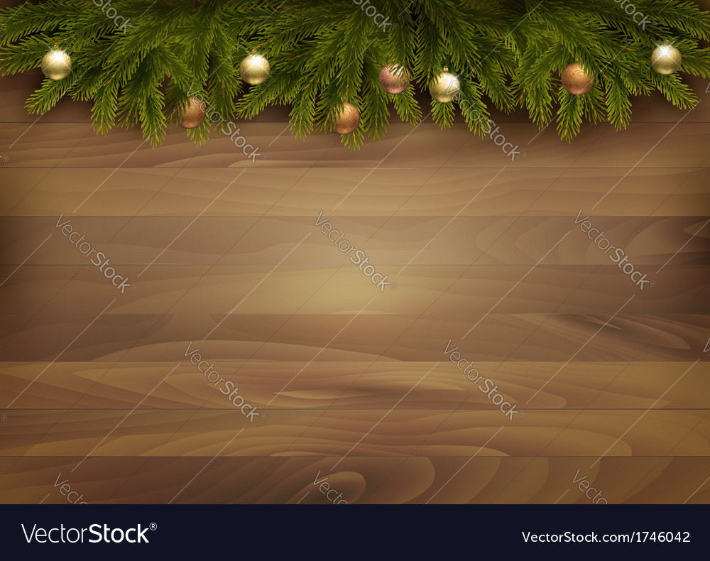 Christmas decoration on wooden background vector