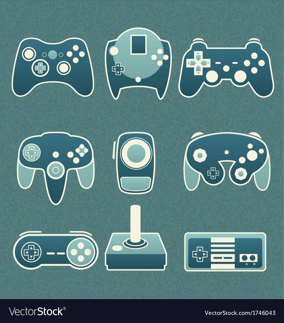 Retro video game remote controls vector