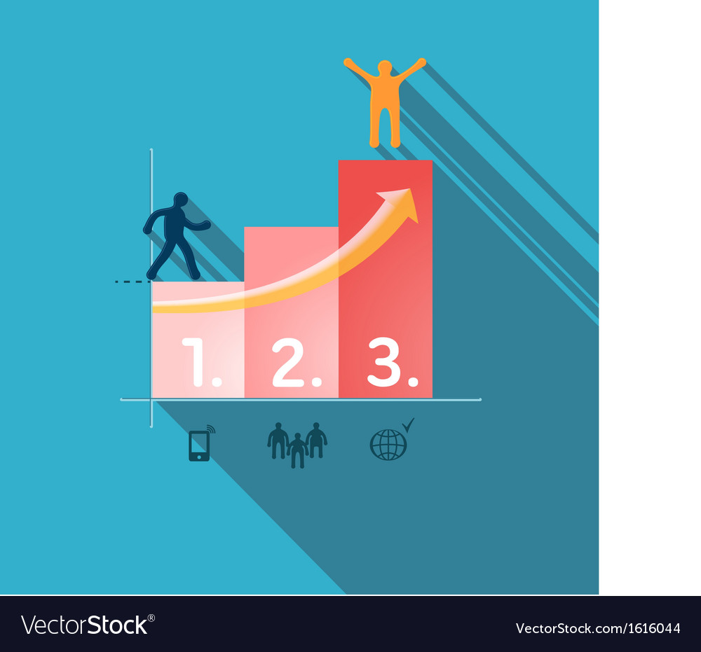 Steps to success infographic vector