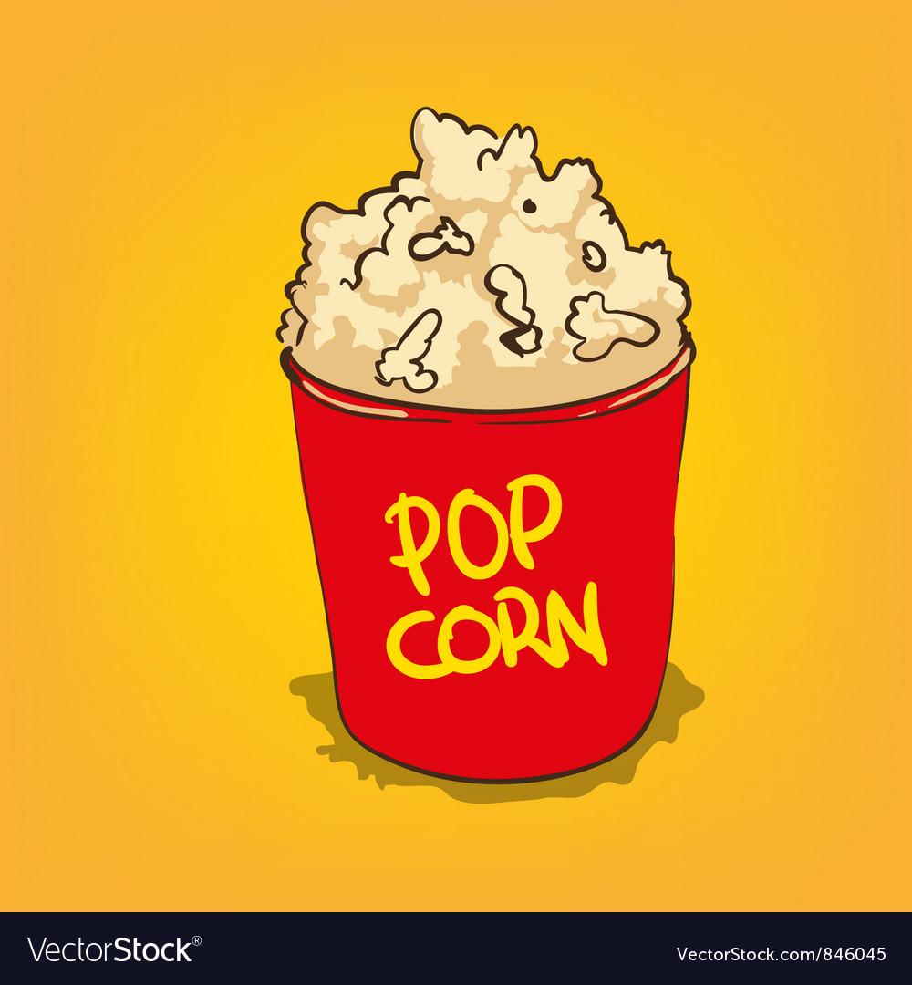 Popcorn in a bucket vector