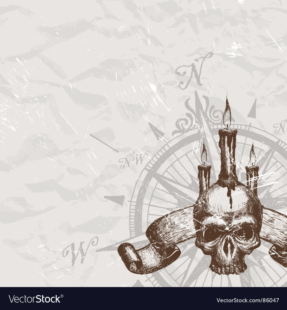 Compass rose and piracy skull vector