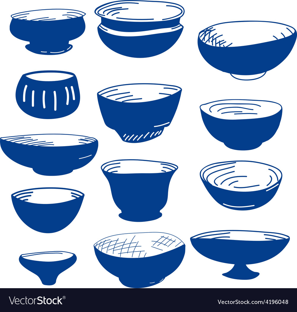 Hand drawn of cups vector