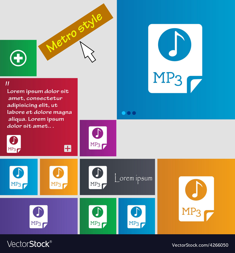 Audio mp3 file icon sign metro style buttons vector