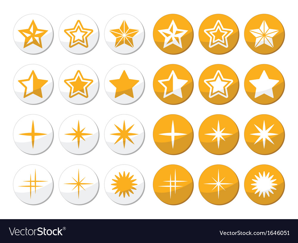 Gold stars round icons set vector