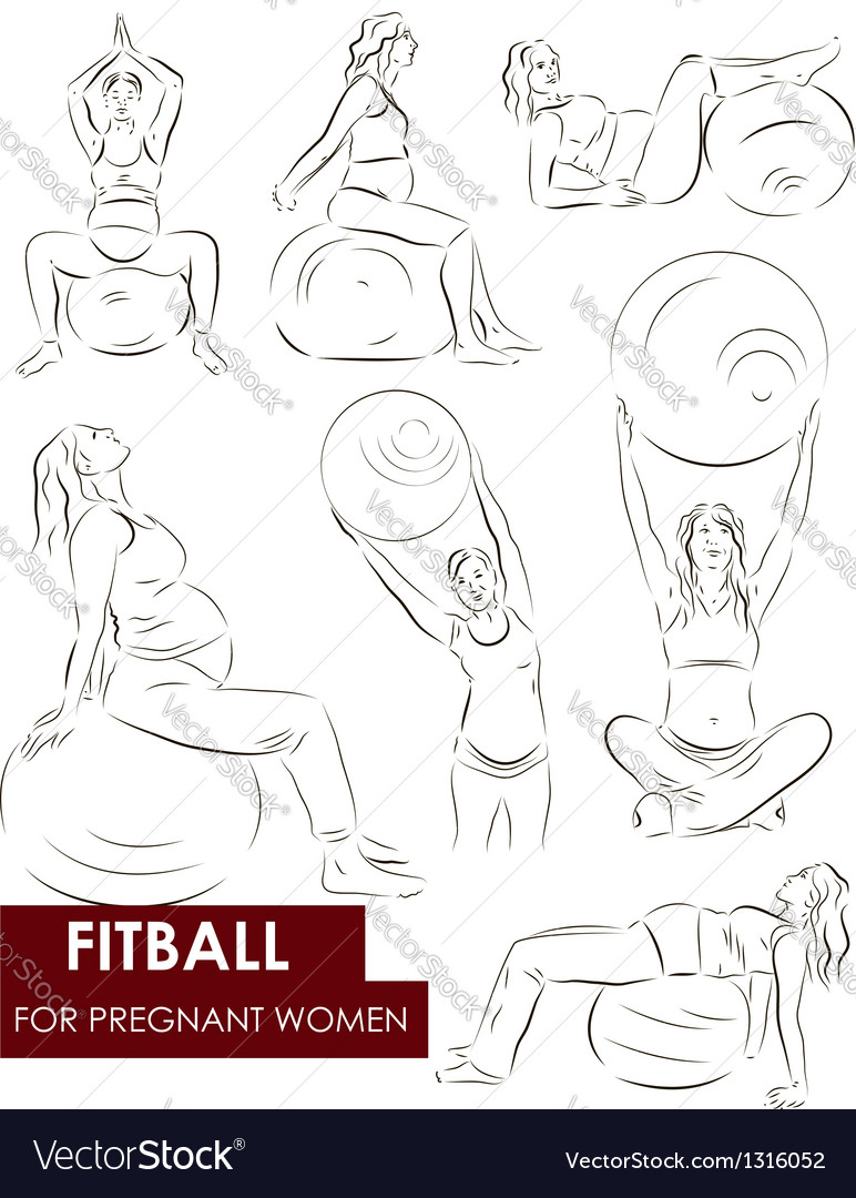 Fitball for pregnant vector