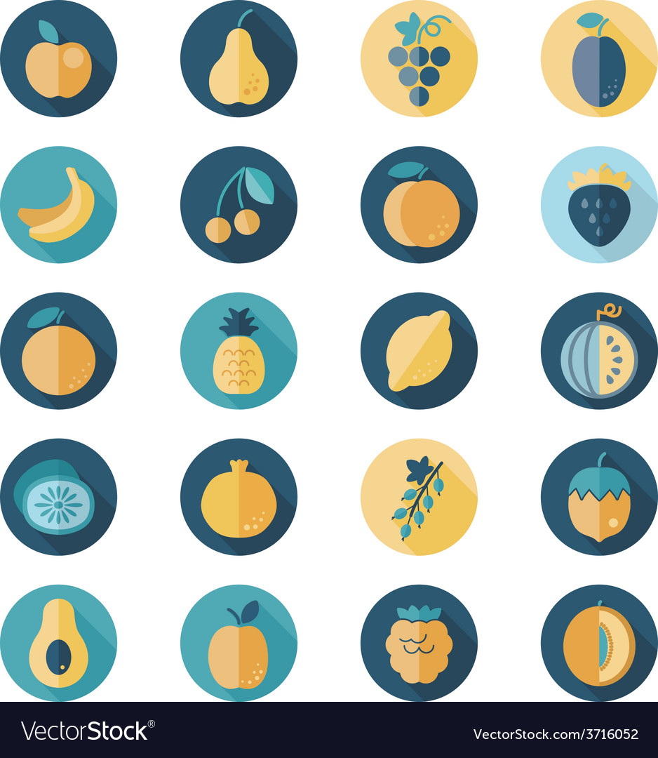 Fruits flat icon with long shadow vector