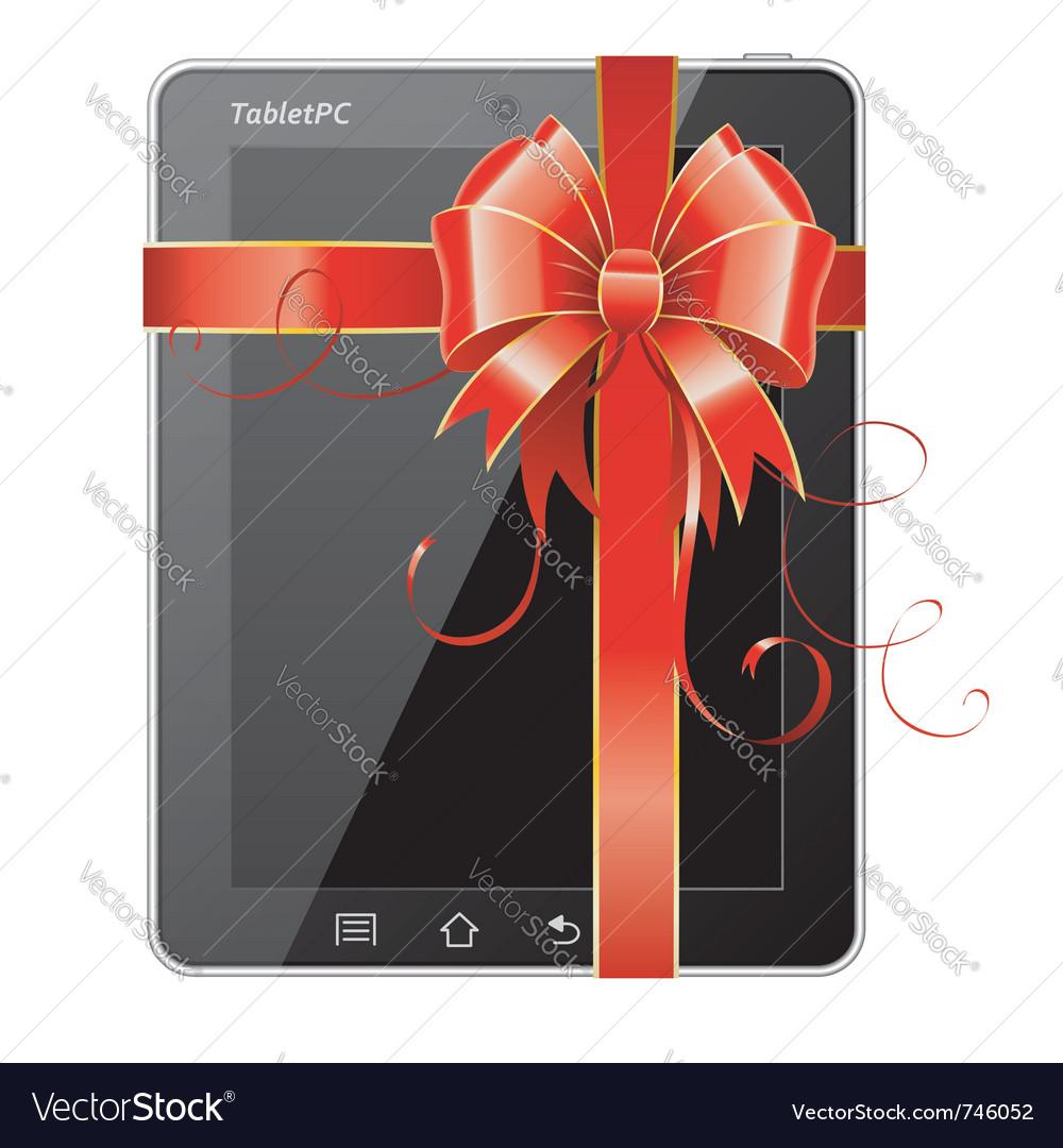 Present tablet pc vector
