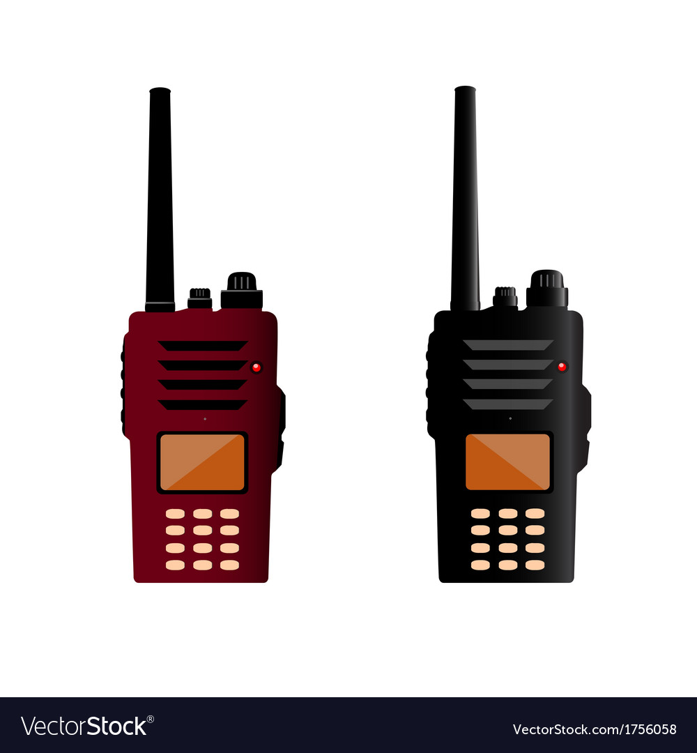 Walkie talkie and police radio or radio vector