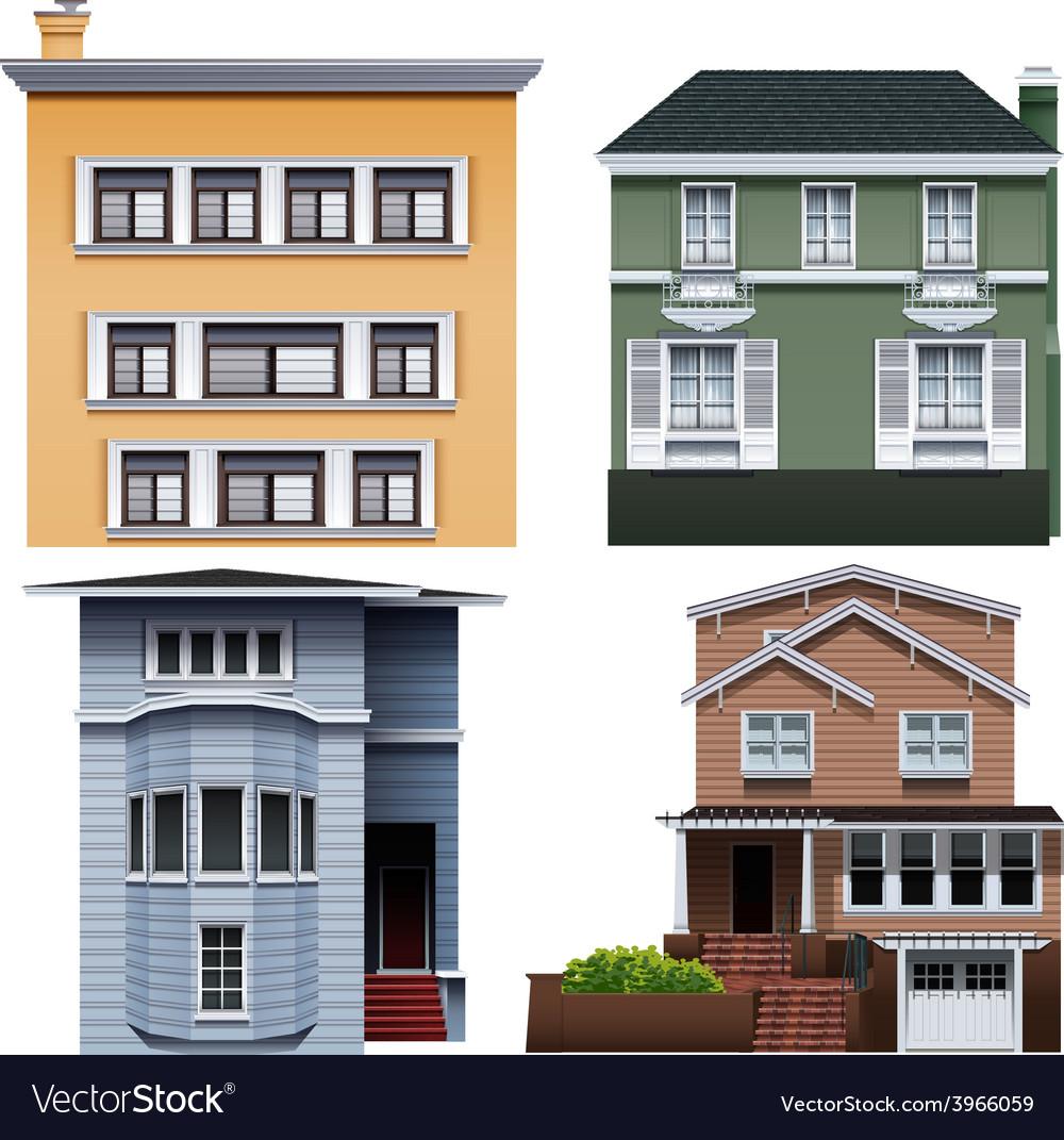 Four buildings vector