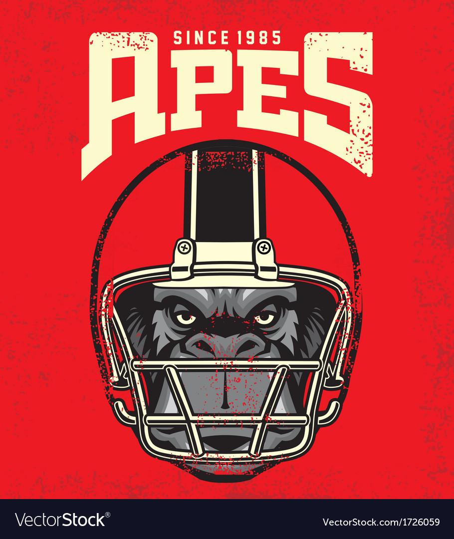 Vintage ape football player vector
