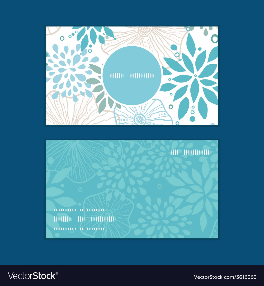 Blue and gray plants vertical round frame pattern vector
