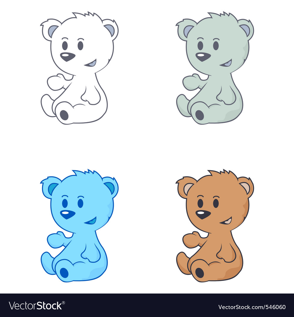 Cartoon drawing of cute little bears vector