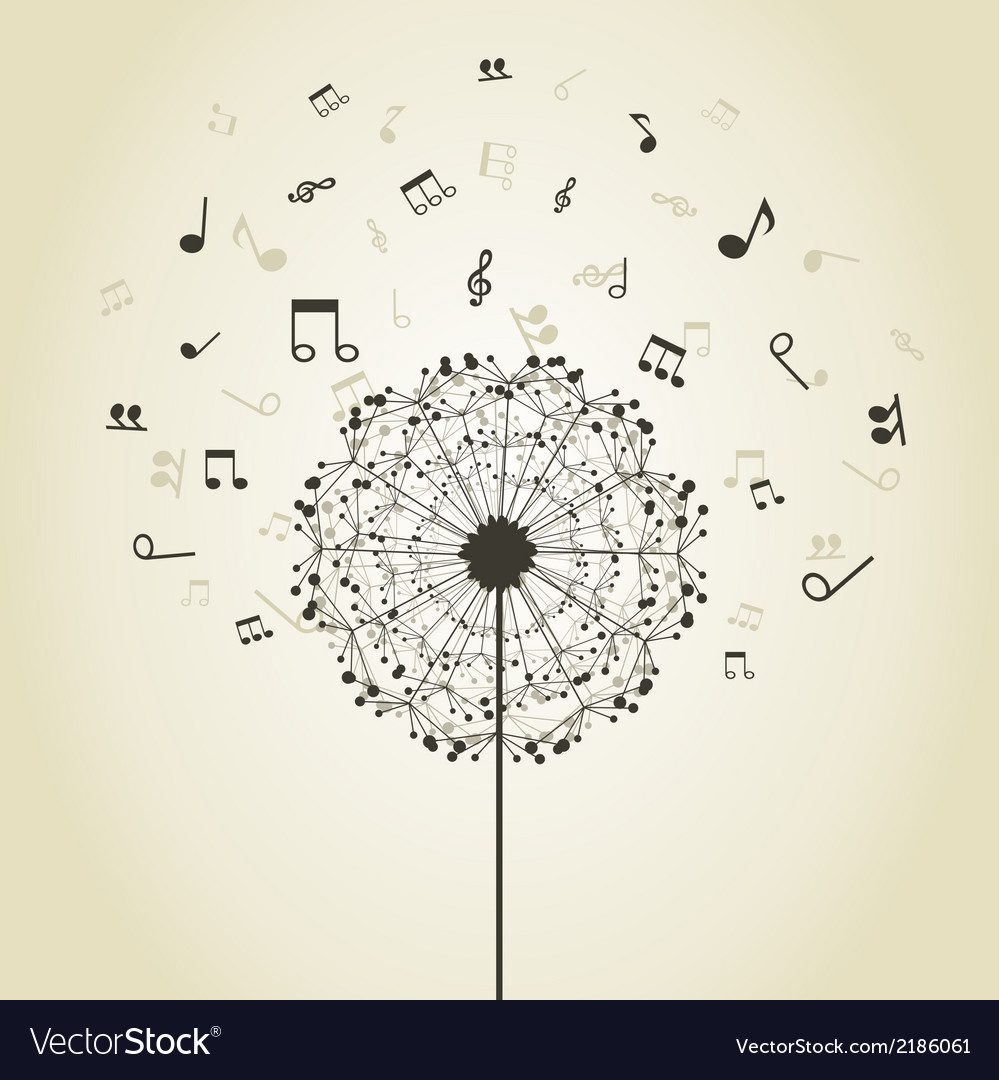 Music a dandelion vector